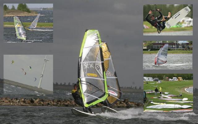 Windsurfen aan Grevelingendam nabij Camping De Krammer